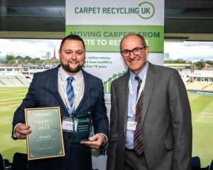 Take Back Partner Winner Glenn Mitchell of Designer Contracts with Robert Barker of Carpet Recycling UK